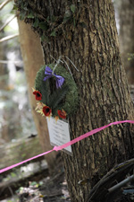 Wreath hung at the crash site of Anson L7056