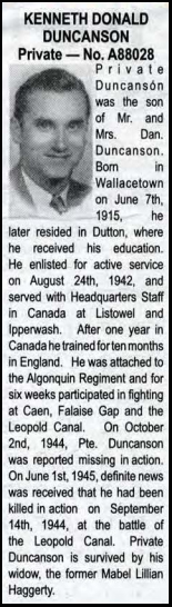 Death Notice from The Dutton Advance 7 June 1945